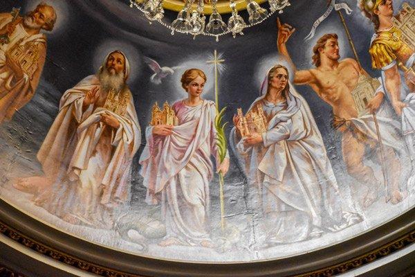 kathedraal victoria citadel plafondschildering koepel detail gozo eiland