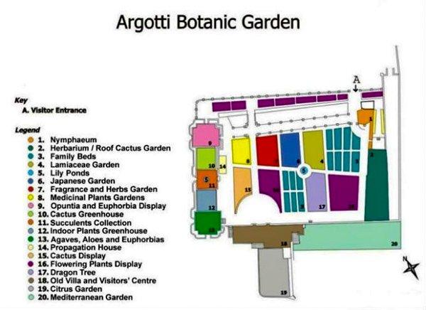 plattegrond argotti botanische tuinen floriana dichtbij valletta