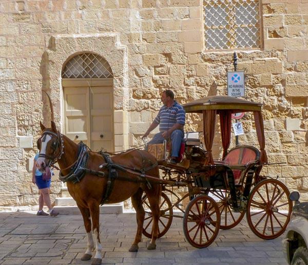 vervoer voor toeristen ruiter paard en kar mdina malta