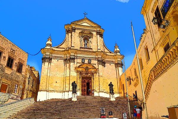 voorzijde kathedraal van victoria citadel gozo eiland