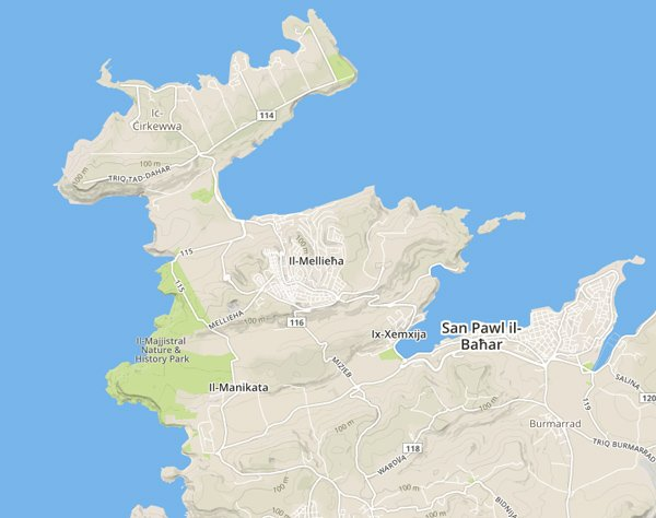 kaart noorden van malta