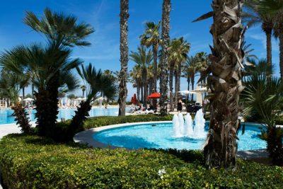 fontein en palmbomen rond het zwembad hilton malta hotel