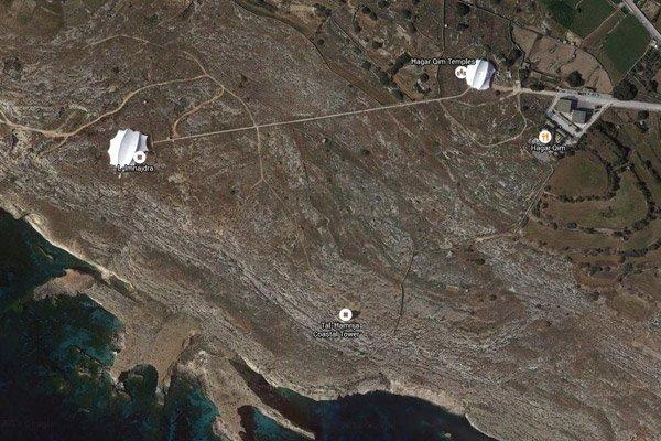 hagar qim en mnajdra tempels satellietbeeld malta