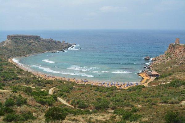 uitzicht ghajn tuffieha bay wardija ridge noorden van malta