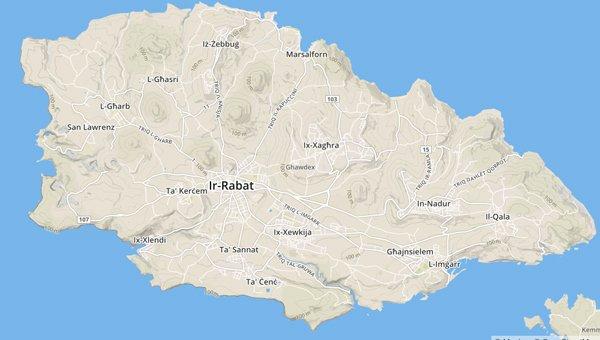 kaart gozo eiland maltese eilandengroep