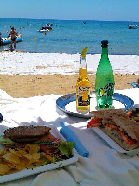 lunch at the beach pebbles beach bar radisson blu malta golden sands