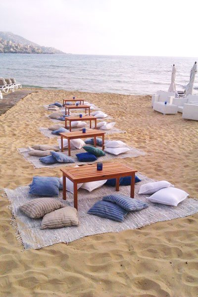 tables and pillows pebbles beach bar radisson blu malta golden sands