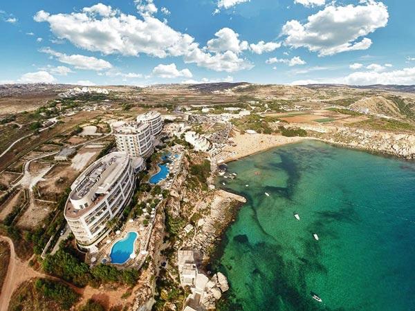 top view hotel and surroundings radisson blu malta golden sands