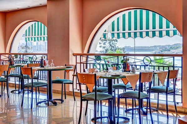interior basilico restaurant the waterfront hotel sliema malta