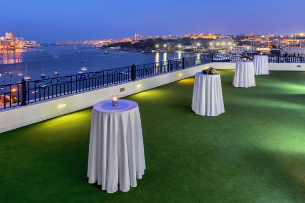 roof top terrace with nice view the waterfront hotel malta